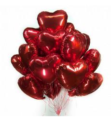 Набор из 25 красных гелиевых шаров в форме сердца «Люблю»