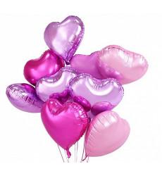 Набор из 9 гелиевых шаров в форме сердца 18/46 см «Нежность»