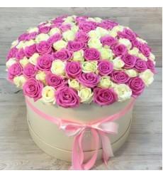 Букет в шляпной коробке из 101 розы «Мы вместе»
