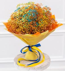 Букет из 21 разноцветной гипсофилы «Оранжевое настроение»