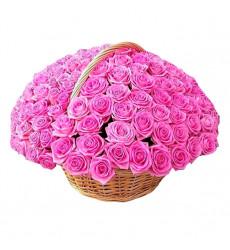 Траурная корзина №29 из живых цветов «100 розовых роз»