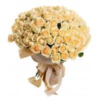 Букет из 101 кремовой розы «Твоя нежность»