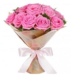 Букет из 15 розовых роз Аква  «Сказочный полёт»