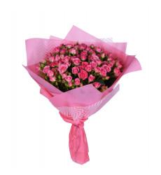 Букет из 21 розовой кенийской кустовой розы «Мармелад »