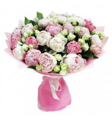 Букет-микс из 23 пионовидных и кустовых роз  «Нежный танец »