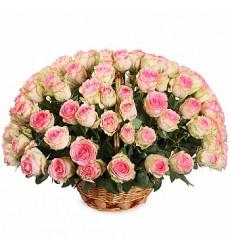 Букет из 41 розы нежного розового цвета в корзине  «Хочу быть с тобой »