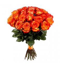 Букет из 43 роз красно-желтого цвета  «Огонь страсти»