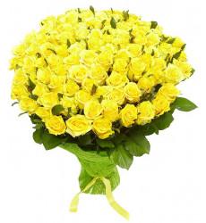 Букет из 43 роз желтого цвета  «Теплое свечение »