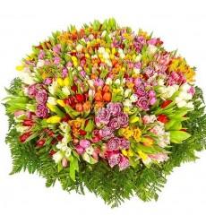 Корзина цветов с 501 разноцветным тюльпаном «Любовный калейдоскоп»