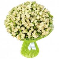Букет из 51 белой кустовой розы «Искреннее пожелание»