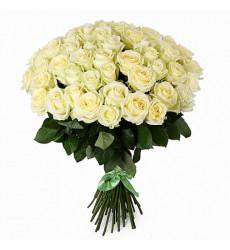 Букет из 51 белой розы  «Снежинки »