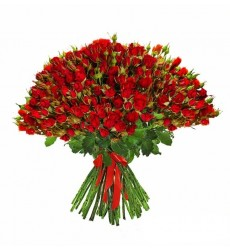 Букет из 51 красной кустовой розы «Легенда Афродиты»