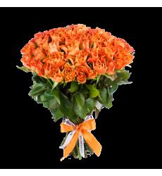 Букет из 51 оранжевой розы  «Разомкнутые объятия »