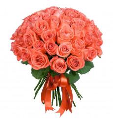 Букет из 61 коралловой розы  «Солнечный берег»