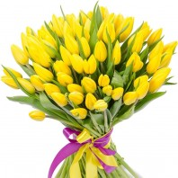 Букет из 75 жёлтых тюльпанов «Жемчужина любви»