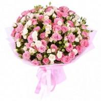 Букет из 15 кустовых роз «Розовая акварель»