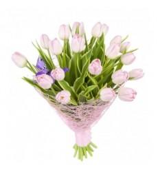 Букет из 21 розового тюльпана «Весенние пряности»
