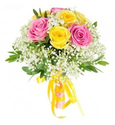 Букет из 9 разноцветных роз «Безмятежное утро»