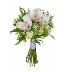 Букет невесты из 10 роз, 3 орхидей и 7 альстромерий «Свадебная мечта»