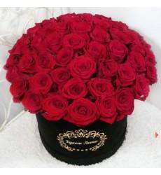 Цветы в коробке с 51 красной розой «Море любви»