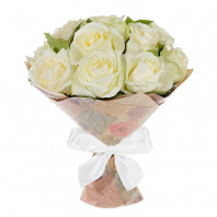 Букет из 7 белых роз Аваланж «Влюблённый Шекспир»