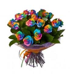 Букет из 19 радужных роз «Радужное настроение»