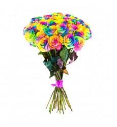 Букет из 29 радужных роз «Цвет счастья»