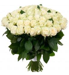 Букет из 55 белых роз «Светлые мечты»