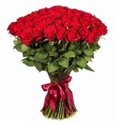 Букет из 55 бордовых роз «Костер чувств»