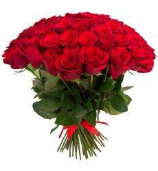 Букет из 75 голландских роз красного цвета «Время счастья »