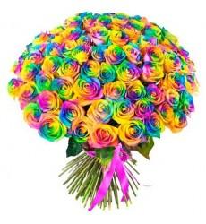 Букет из 99 радужных роз «Полёт фантазии»