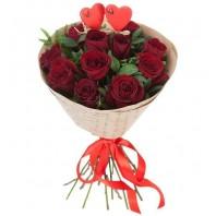 Букет из 11 красных роз Гран При «Розовый рай»