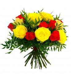 Букет-микс из 9 красных и желтых роз с крупными бутонами  «Яркие эмоции »