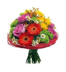 Букет из 6 роз, гербер, ромашек и хризантем «Ноты радости»