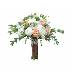 Букет невесты из 10 роз Дэвид Остин, 8 пионов и 10 фрезий «Самая счастливая»
