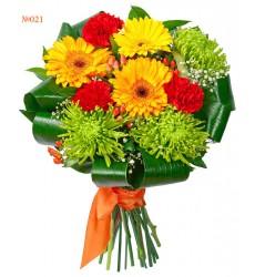 Букет из 3 гербер, 3 гвоздик, 3 хризантем и зелени «Сады Эксбери»
