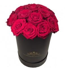 Цветы в коробке с 21 красной розой «Эстетика роз»