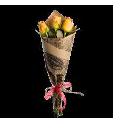 Букет из 3 желтых роз «Золотистый колос»