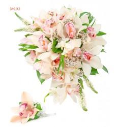 Букет невесты из ветки орхидеи, альстромерии и зелени «Семейный очаг»