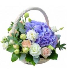 Корзина цветов с 8 нежными розами, гортензией и 4 лизиантусами «Благоухающая нежность»