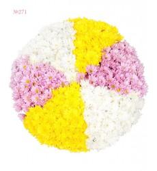 Цветочная композиция из 150 кустовых хризантем «Шербургский зонтик»