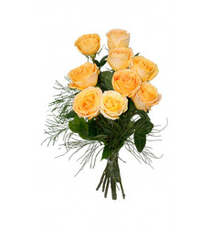 Букет из 9 персиковых роз «Сладкое мгновение»