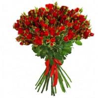 Букет из 25 красных кустовых роз «Встреча с тобой»