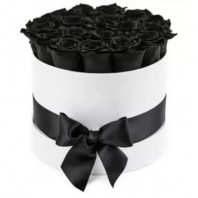 Цветы в коробке  с 29 чёрными розами «Клавиши рояля»