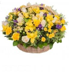 Корзина цветов с 39 розами  «Сияние весны»