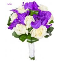 Букет невесты из 9 роз, 3 орхидей ванда и зелени «Время для двоих»