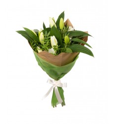 Букет из 5 веток лилии и фисташковой зелени «Виардо»