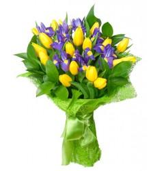 Букет из 11 тюльпанов и 7 ирисов «Жизнерадостная фея»