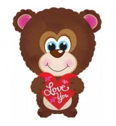 Воздушный шар мишка с сердцем «Влюблённый Мишутка»