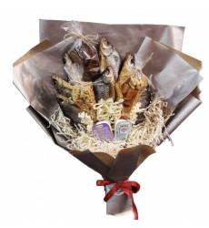 «Мужской продуктовый букет из рыбы и орехов»